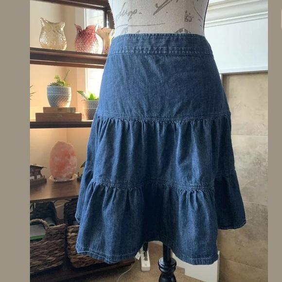LOFT Dresses & Skirts - Ann Taylor LOFT Blue Denim Jean Pleaded Skirt 12